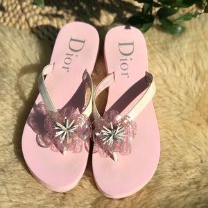 DIOR🎀 Monogram Thong Sandals Size 37.5
